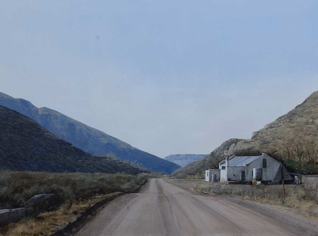 "South African landscape painting title ""Loxton Road"""