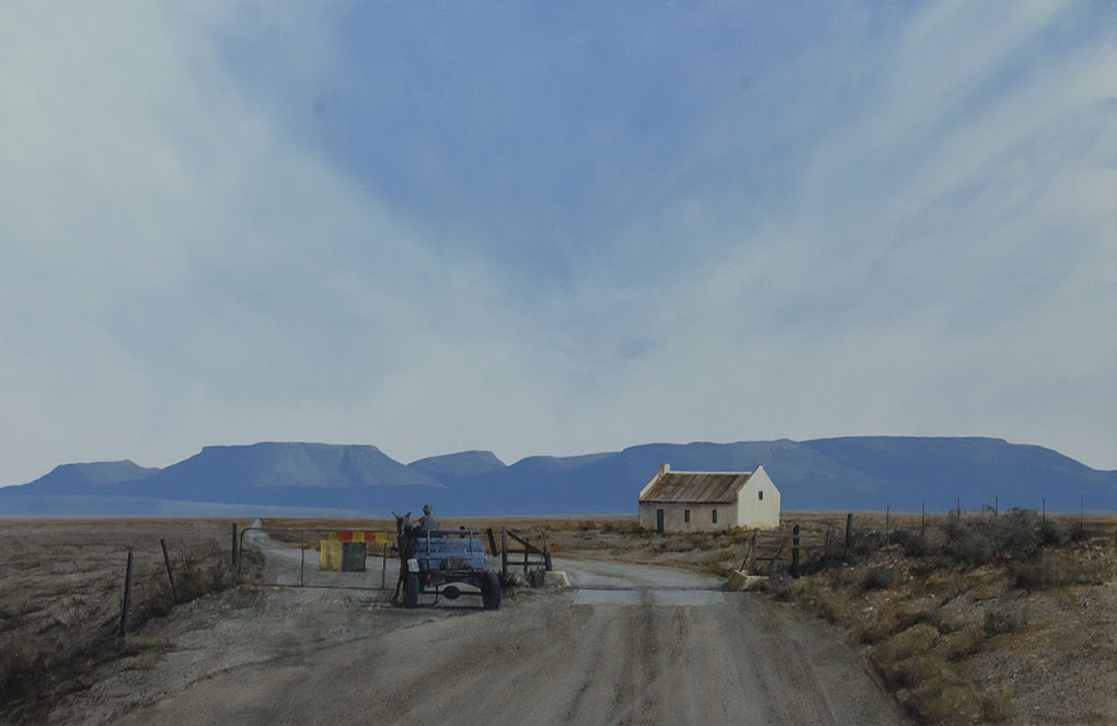 South African Artists Karoo landscape entitled 'Cattle Gate And Cart;