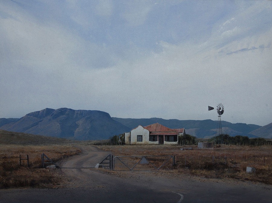 "South African artists Karoo landscape title ""The House On The Hill"""