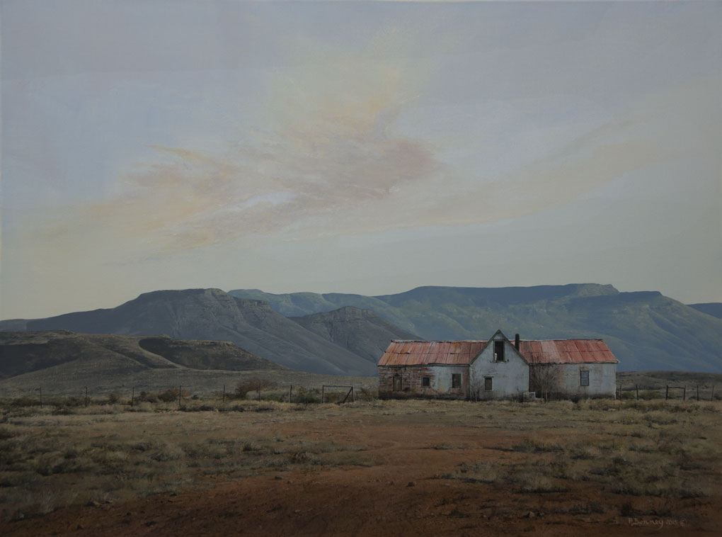 "South African Artists|Peter Bonney| Karoo landscape title ""In The Shadow Of ~The Sneeuberg"
