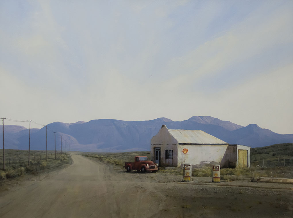 South African Artists Karoo Landscape painting image title Where To From Here